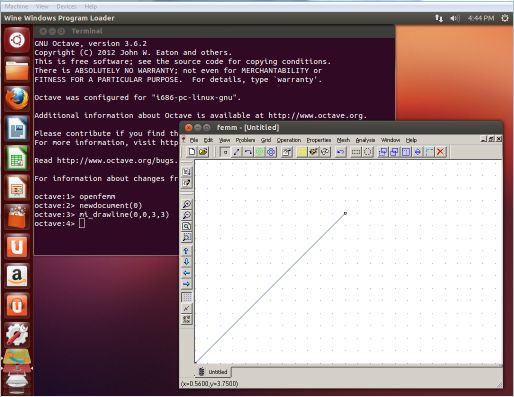 OctaveFEMM on Ubuntu Screenshot